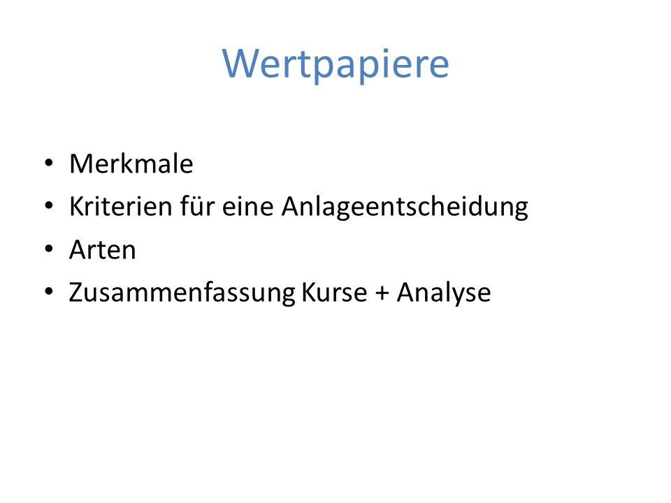 Wertpapiere Merkmale Kriterien für eine Anlageentscheidung Arten Zusammenfassung Kurse + Analyse