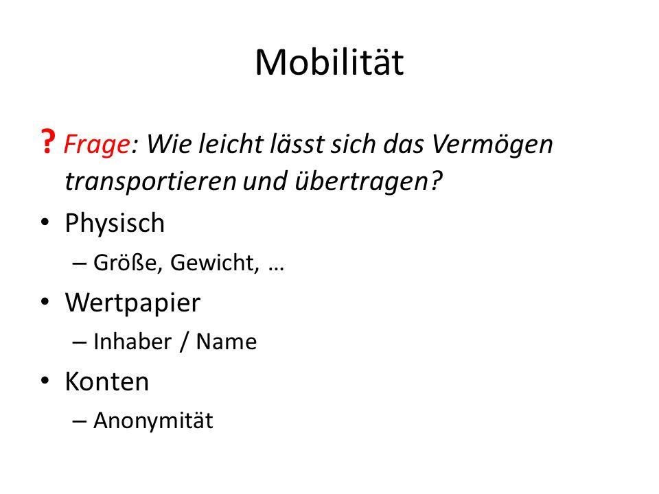 Mobilität .Frage: Wie leicht lässt sich das Vermögen transportieren und übertragen.