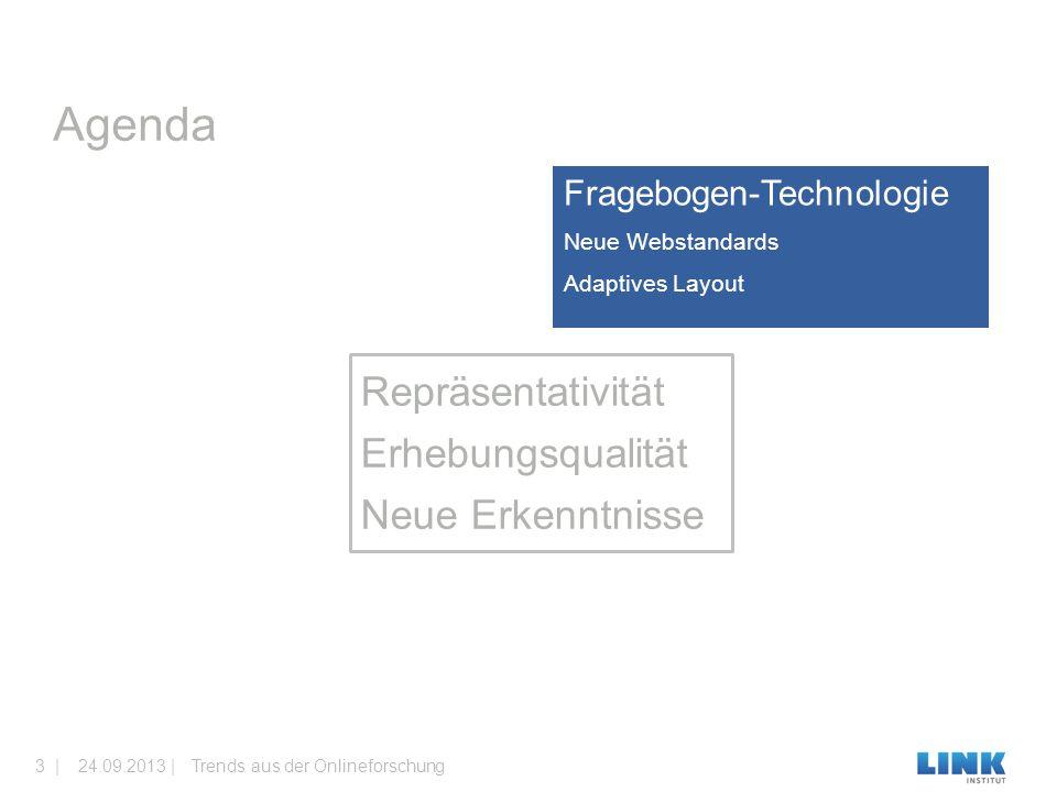 Fragebogen-Technologie Neue Webstandards Adaptives Layout Agenda Trends aus der Onlineforschung24.09.2013 |3 | Repräsentativität Erhebungsqualität Neu