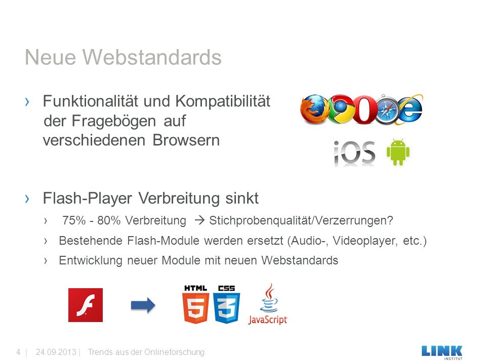 › Funktionalität und Kompatibilität der Fragebögen auf auf verschiedenen Browsern › Flash-Player Verbreitung sinkt › 75% - 80% Verbreitung  Stichprob