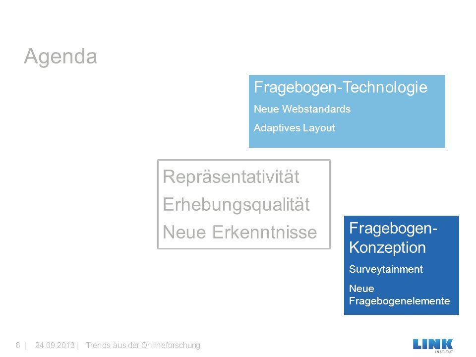 Fragebogen-Technologie Neue Webstandards Adaptives Layout Fragebogen- Konzeption Surveytainment Neue Fragebogenelemente Agenda Trends aus der Onlineforschung24.09.2013 |8 | Repräsentativität Erhebungsqualität Neue Erkenntnisse