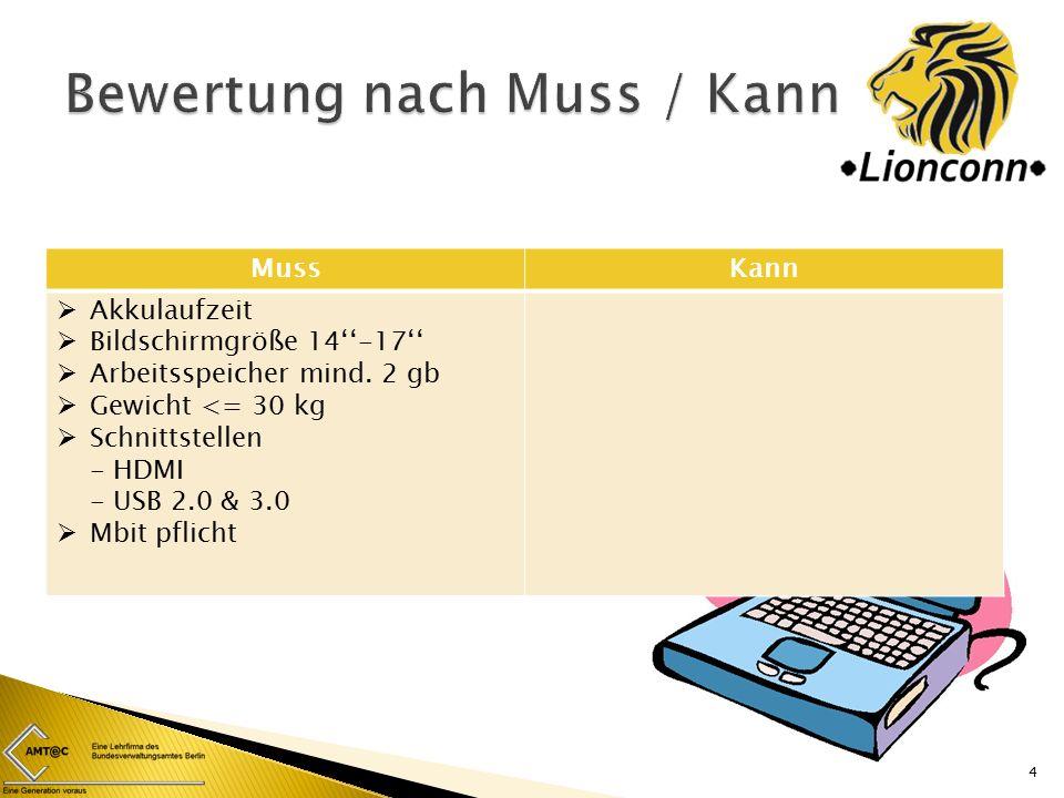 MussKann  Akkulaufzeit  Bildschirmgröße 14''-17''  Arbeitsspeicher mind.