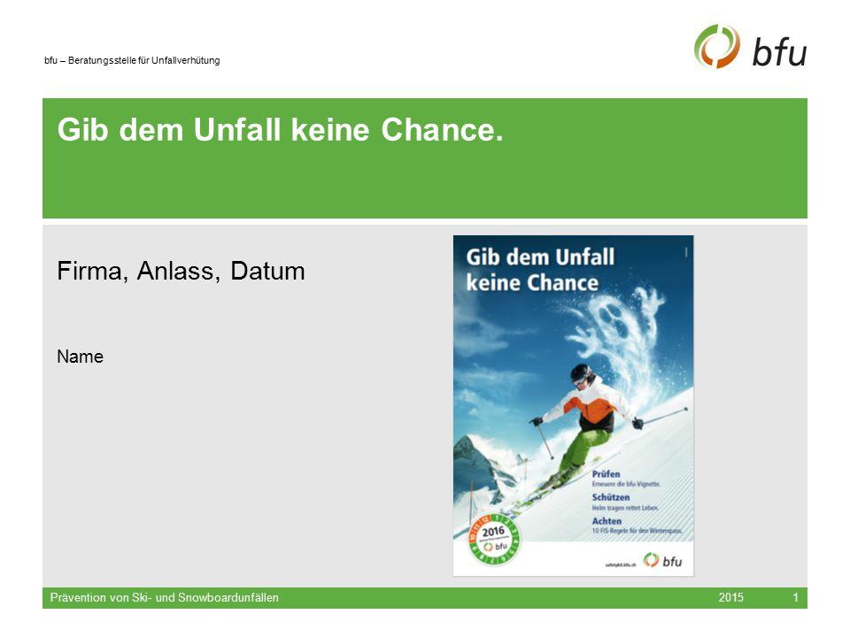 bfu – Beratungsstelle für Unfallverhütung 2015 Prävention von Ski- und Snowboardunfällen 2 Nichtberufsunfälle in der Schweiz, 2012 Jährlich verletzen sich über eine Million Menschen im Strassen- verkehr, bei Sport und Bewegung sowie im und ums Haus.