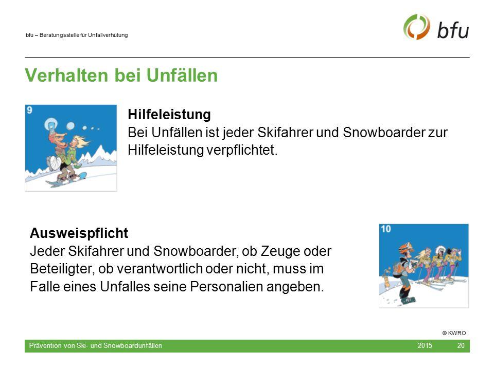 bfu – Beratungsstelle für Unfallverhütung Verhalten bei Unfällen 2015 Prävention von Ski- und Snowboardunfällen 20 Hilfeleistung Bei Unfällen ist jede