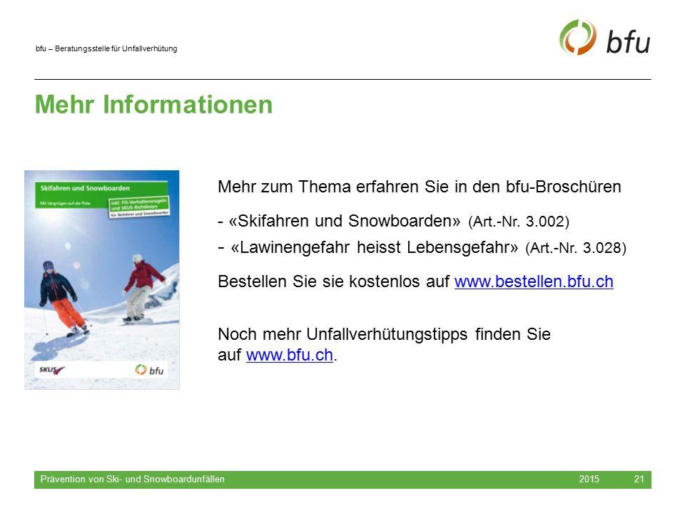 bfu – Beratungsstelle für Unfallverhütung Mehr Informationen 2015 Prävention von Ski- und Snowboardunfällen 21 Mehr zum Thema erfahren Sie in den bfu-