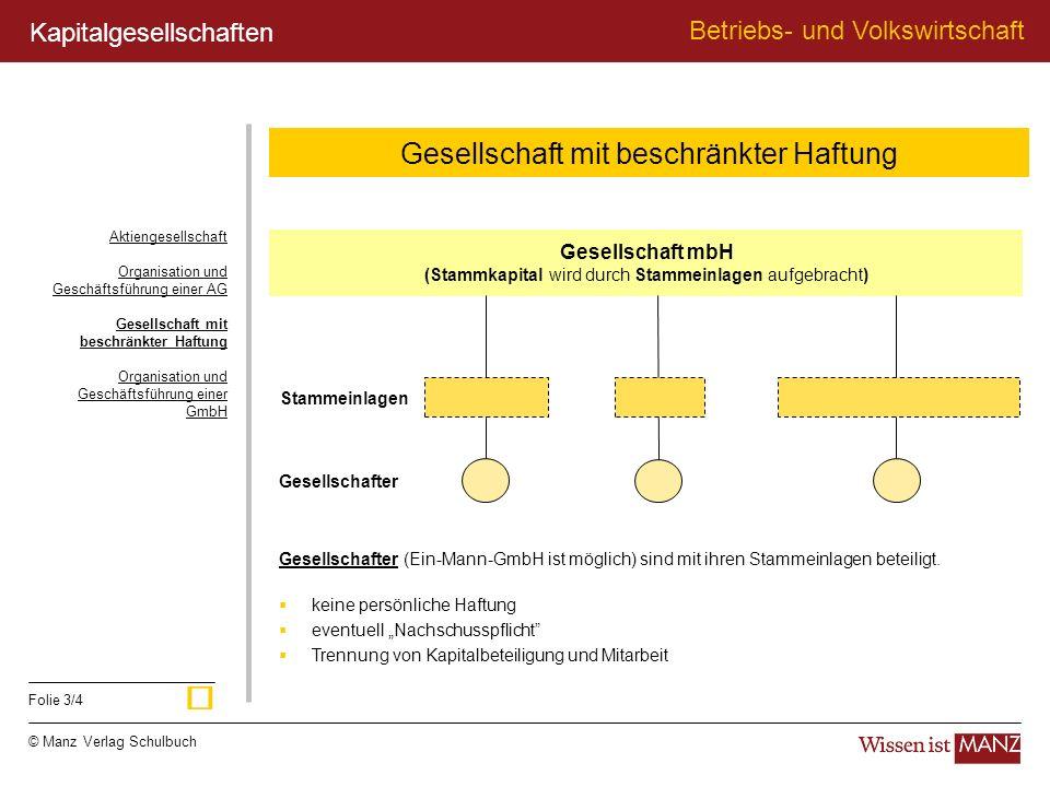 © Manz Verlag Schulbuch Betriebs- und Volkswirtschaft Folie 3/4 Gesellschaft mbH (Stammkapital wird durch Stammeinlagen aufgebracht) Stammeinlagen Ges