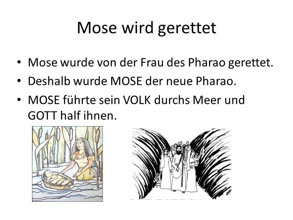 Mose wird gerettet Mose wurde von der Frau des Pharao gerettet.
