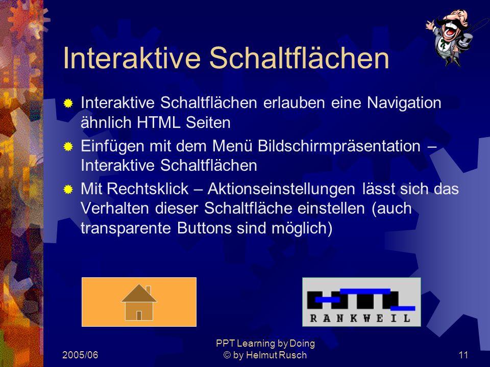 2005/06 PPT Learning by Doing © by Helmut Rusch11 Interaktive Schaltflächen  Interaktive Schaltflächen erlauben eine Navigation ähnlich HTML Seiten  Einfügen mit dem Menü Bildschirmpräsentation – Interaktive Schaltflächen  Mit Rechtsklick – Aktionseinstellungen lässt sich das Verhalten dieser Schaltfläche einstellen (auch transparente Buttons sind möglich)