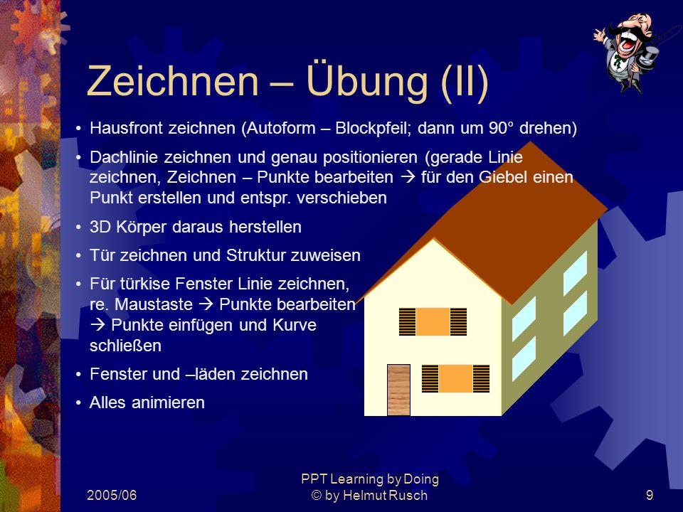 2005/06 PPT Learning by Doing © by Helmut Rusch9 Zeichnen – Übung (II) Hausfront zeichnen (Autoform – Blockpfeil; dann um 90° drehen) Dachlinie zeichnen und genau positionieren (gerade Linie zeichnen, Zeichnen – Punkte bearbeiten  für den Giebel einen Punkt erstellen und entspr.