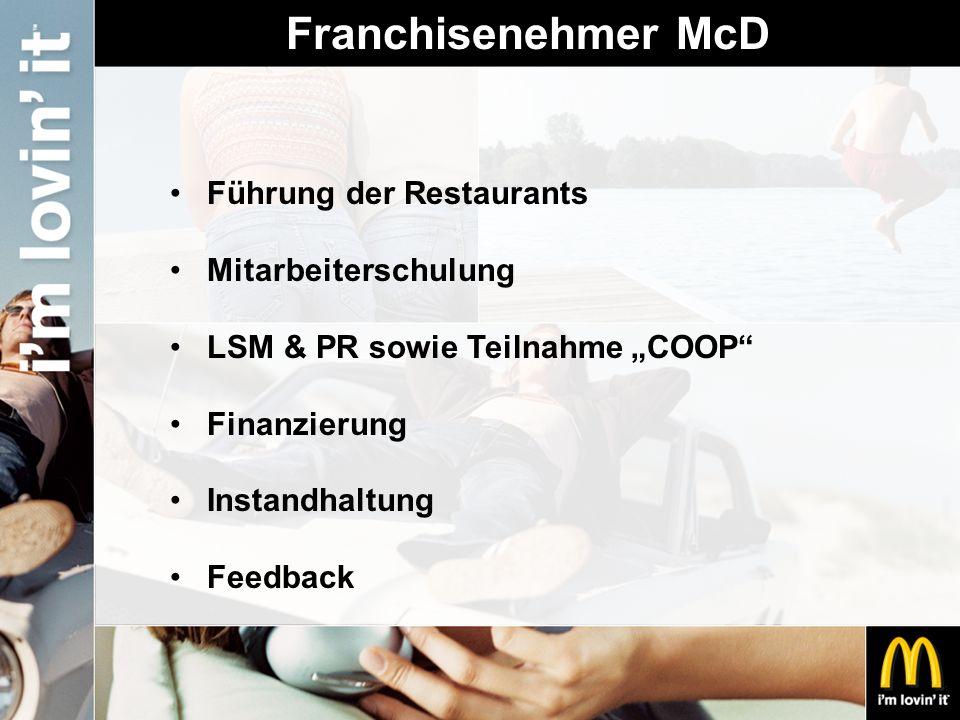 """Franchisenehmer McD Führung der Restaurants Mitarbeiterschulung LSM & PR sowie Teilnahme """"COOP"""" Finanzierung Instandhaltung Feedback"""