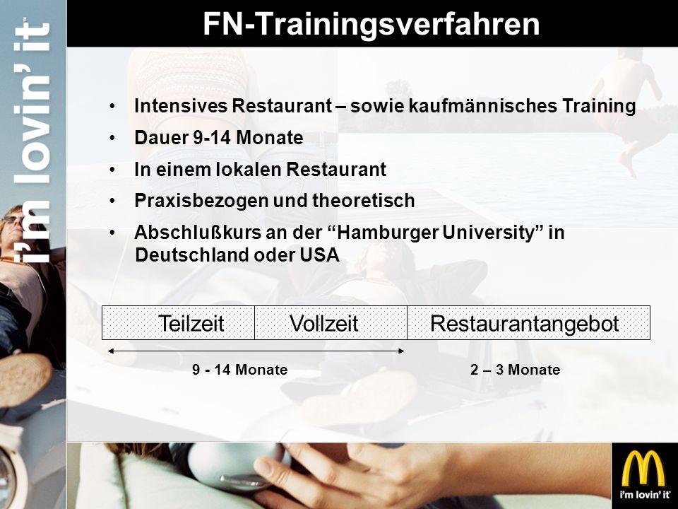 FN-Trainingsverfahren Intensives Restaurant – sowie kaufmännisches Training Dauer 9-14 Monate In einem lokalen Restaurant Praxisbezogen und theoretisc