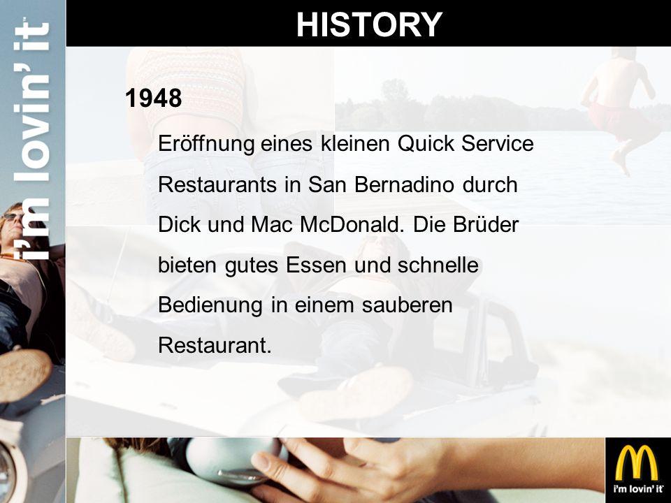 HISTORY 1948 Eröffnung eines kleinen Quick Service Restaurants in San Bernadino durch Dick und Mac McDonald. Die Brüder bieten gutes Essen und schnell