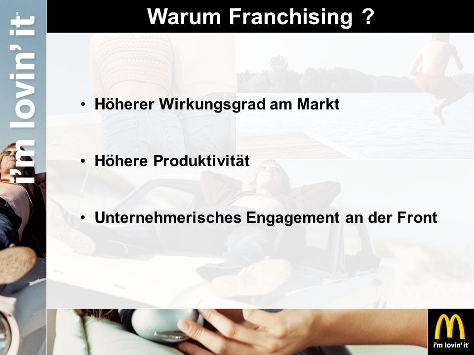 Warum Franchising ? Höherer Wirkungsgrad am Markt Höhere Produktivität Unternehmerisches Engagement an der Front