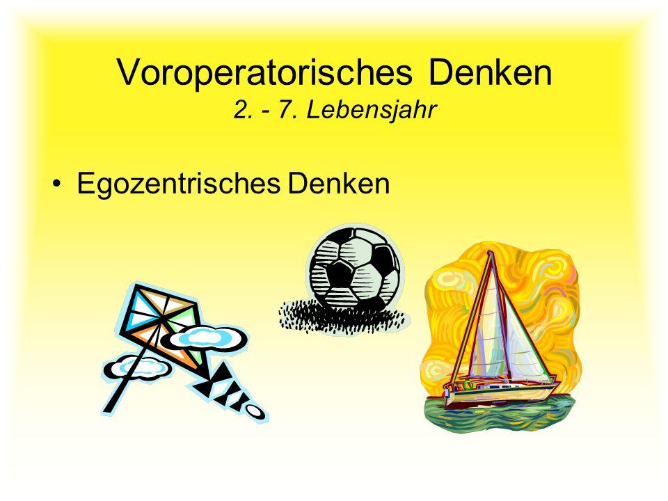 Voroperatorisches Denken 2. - 7. Lebensjahr Egozentrisches Denken