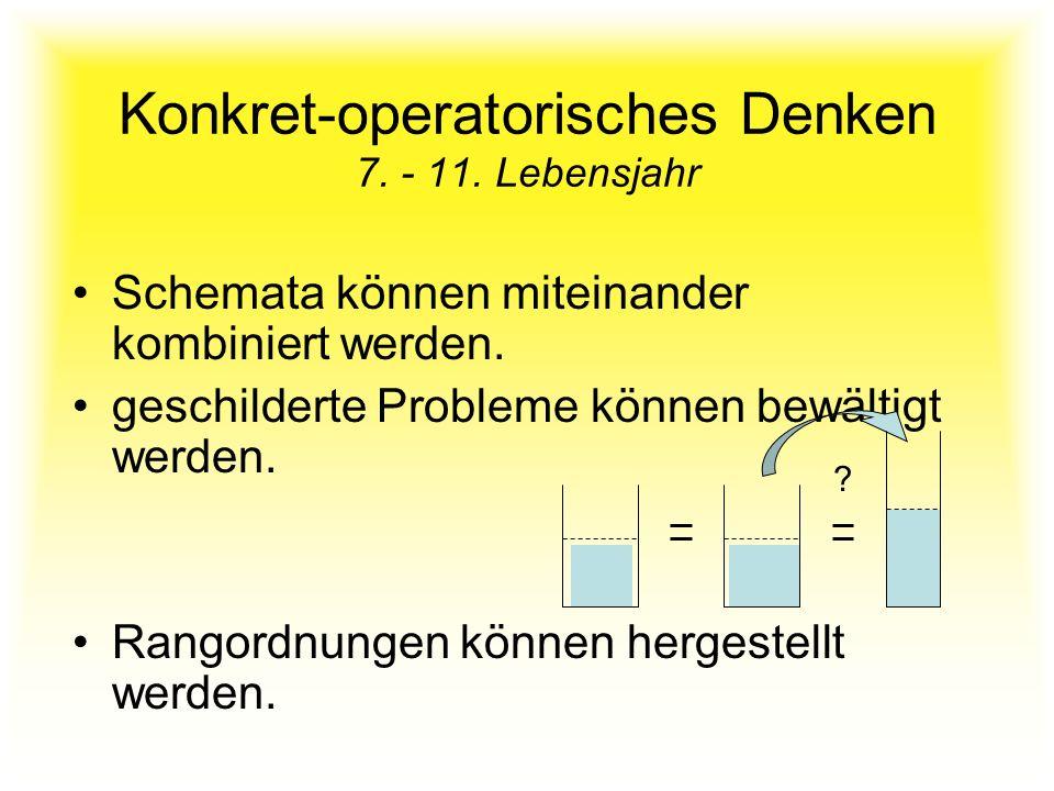 Konkret-operatorisches Denken 7. - 11. Lebensjahr Schemata können miteinander kombiniert werden. geschilderte Probleme können bewältigt werden. Rangor