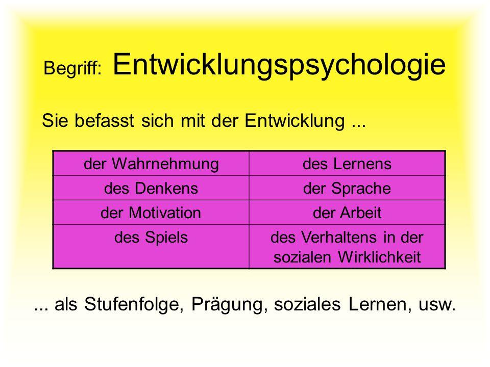 Begriff: Entwicklungspsychologie Sie befasst sich mit der Entwicklung... der Wahrnehmungdes Lernens des Denkensder Sprache der Motivationder Arbeit de