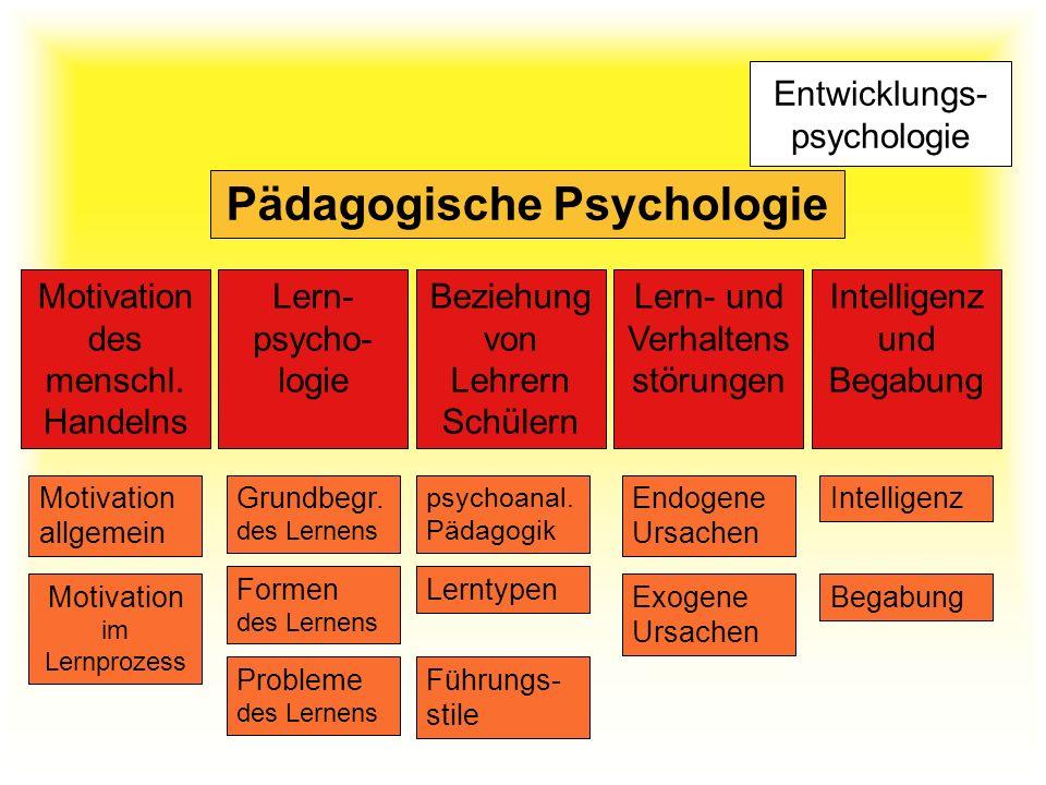 Entwicklungs- psychologie Pädagogische Psychologie Motivation des menschl. Handelns Lern- psycho- logie Beziehung von Lehrern Schülern Lern- und Verha