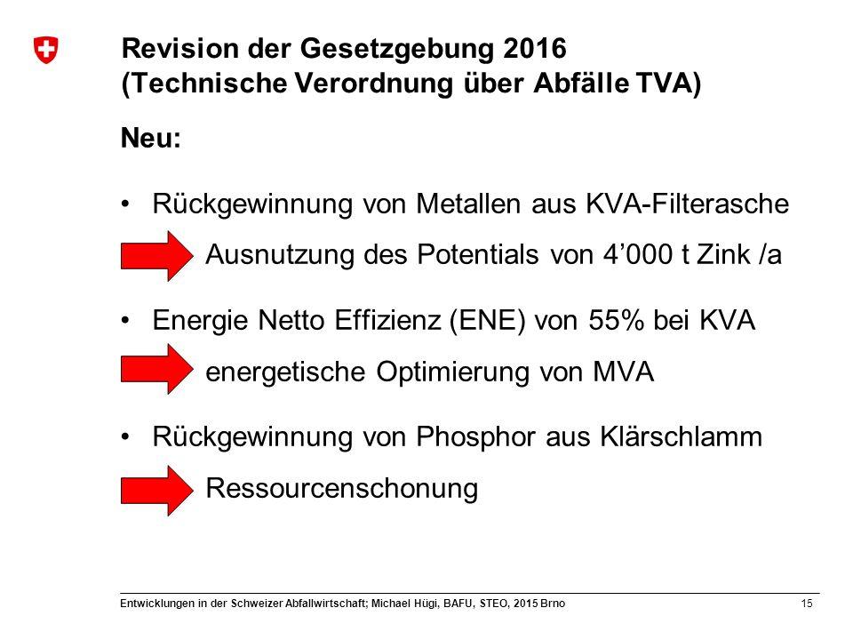 15 Entwicklungen in der Schweizer Abfallwirtschaft; Michael Hügi, BAFU, STEO, 2015 Brno Revision der Gesetzgebung 2016 (Technische Verordnung über Abf