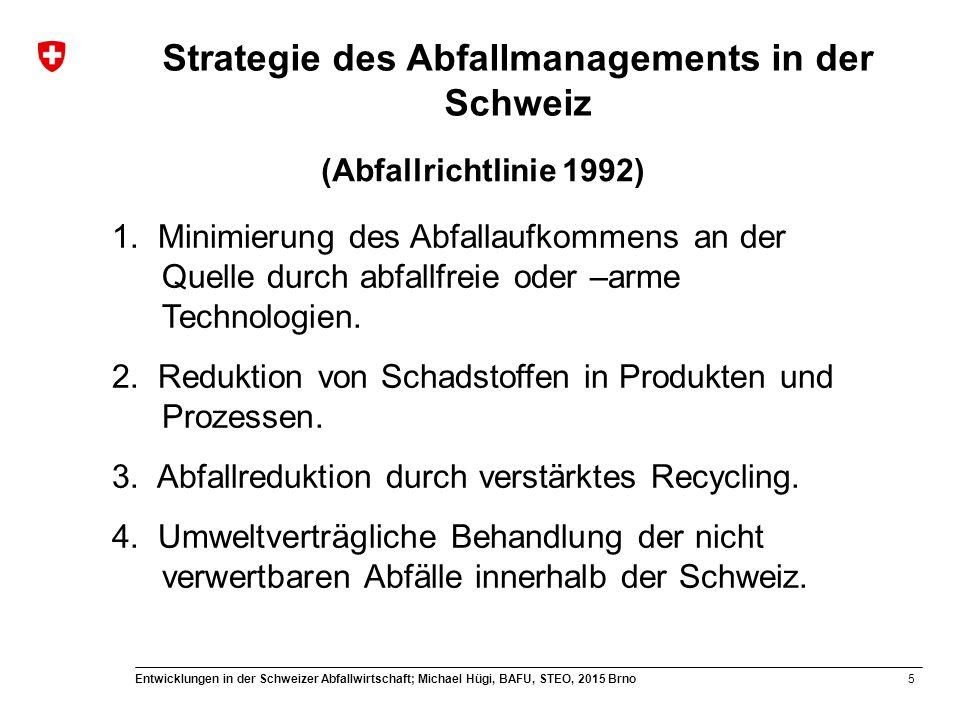 16 Entwicklungen in der Schweizer Abfallwirtschaft; Michael Hügi, BAFU, STEO, 2015 Brno Recycling in der Schweiz Spezifische Abfallfraktionen werden nur dann gesammelt und stofflich verwertet, wenn: Wenn das Recycling ökologisch vorteilhafter ist als die Entsorgung des Abfalls und die Produktion eines neuen Produkts.