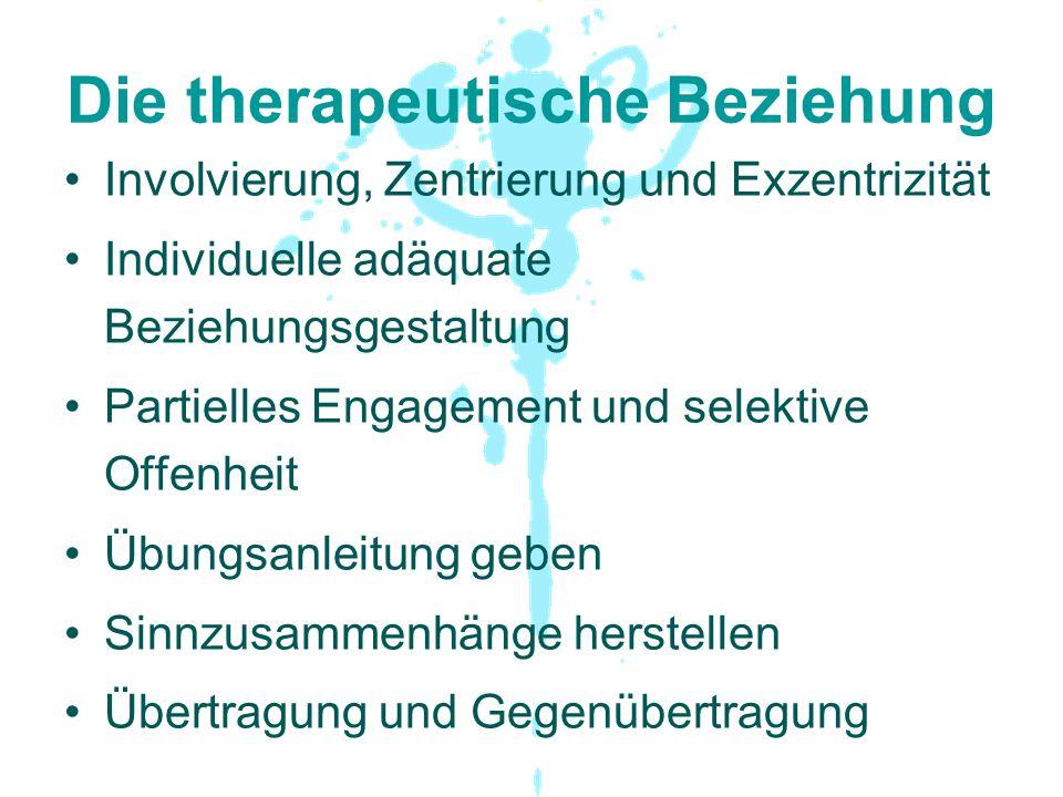 Die therapeutische Beziehung Involvierung, Zentrierung und Exzentrizität Individuelle adäquate Beziehungsgestaltung Partielles Engagement und selektiv