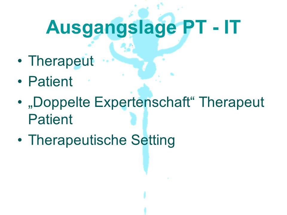 """Ausgangslage PT - IT Therapeut Patient """"Doppelte Expertenschaft"""" Therapeut Patient Therapeutische Setting"""