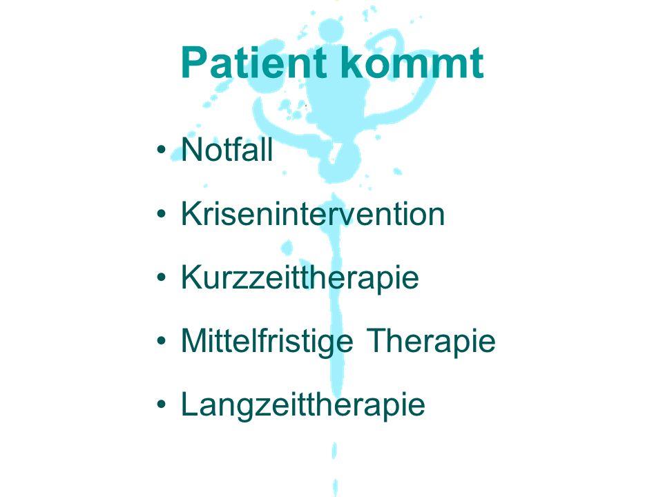 Patient kommt Notfall Krisenintervention Kurzzeittherapie Mittelfristige Therapie Langzeittherapie