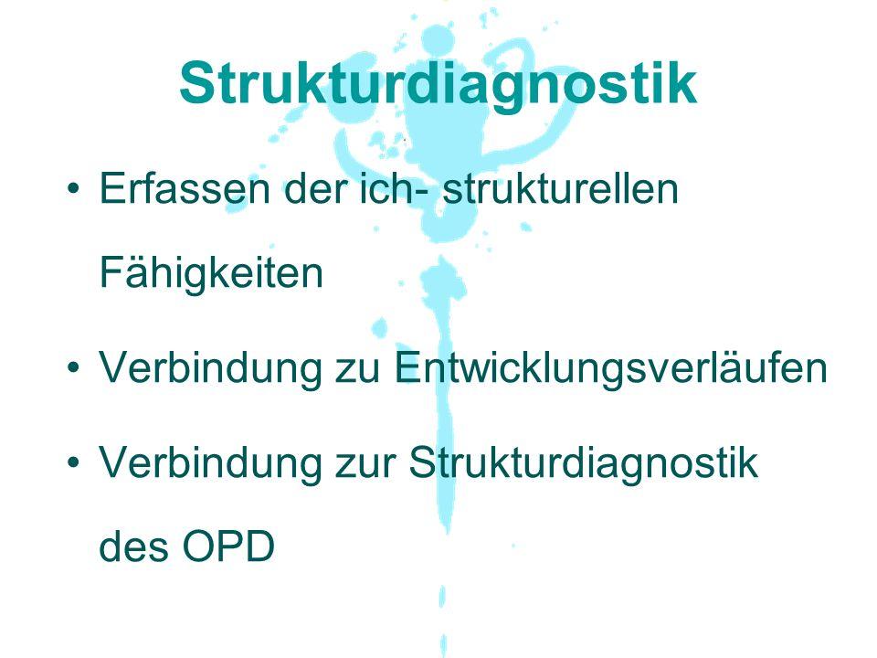 Strukturdiagnostik Erfassen der ich- strukturellen Fähigkeiten Verbindung zu Entwicklungsverläufen Verbindung zur Strukturdiagnostik des OPD