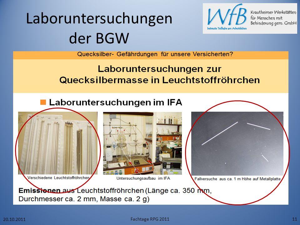 Laboruntersuchungen der BGW 20.10.2011 Fachtage RPG 201111