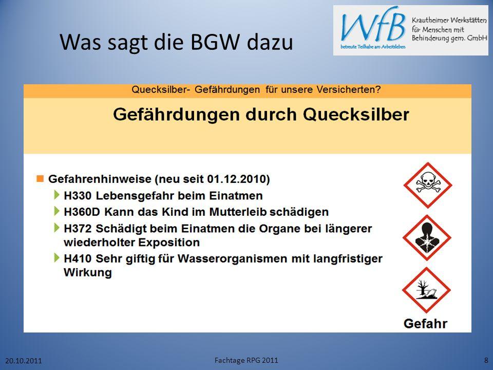 Was sagt die BGW dazu 20.10.2011 Fachtage RPG 20118