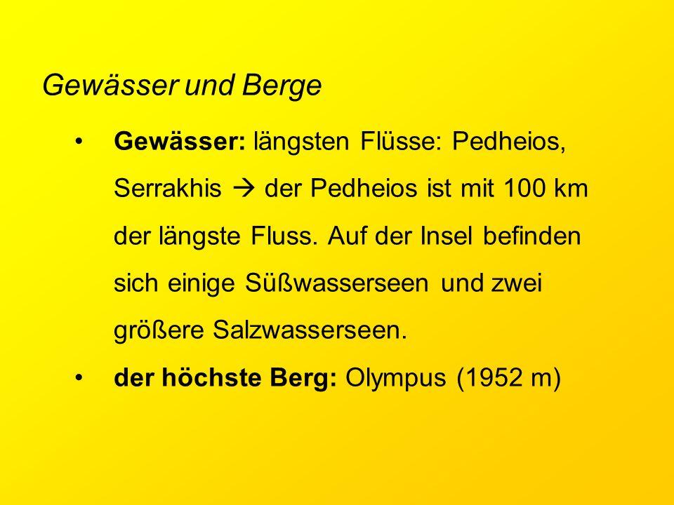 Gewässer und Berge Gewässer: längsten Flüsse: Pedheios, Serrakhis  der Pedheios ist mit 100 km der längste Fluss. Auf der Insel befinden sich einige