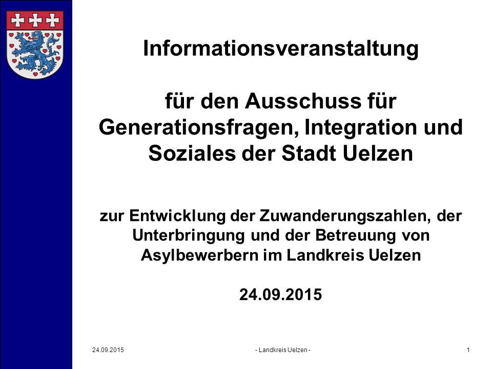 Informationsveranstaltung für den Ausschuss für Generationsfragen, Integration und Soziales der Stadt Uelzen zur Entwicklung der Zuwanderungszahlen, d