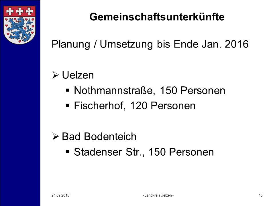 Gemeinschaftsunterkünfte Planung / Umsetzung bis Ende Jan. 2016  Uelzen  Nothmannstraße, 150 Personen  Fischerhof, 120 Personen  Bad Bodenteich 