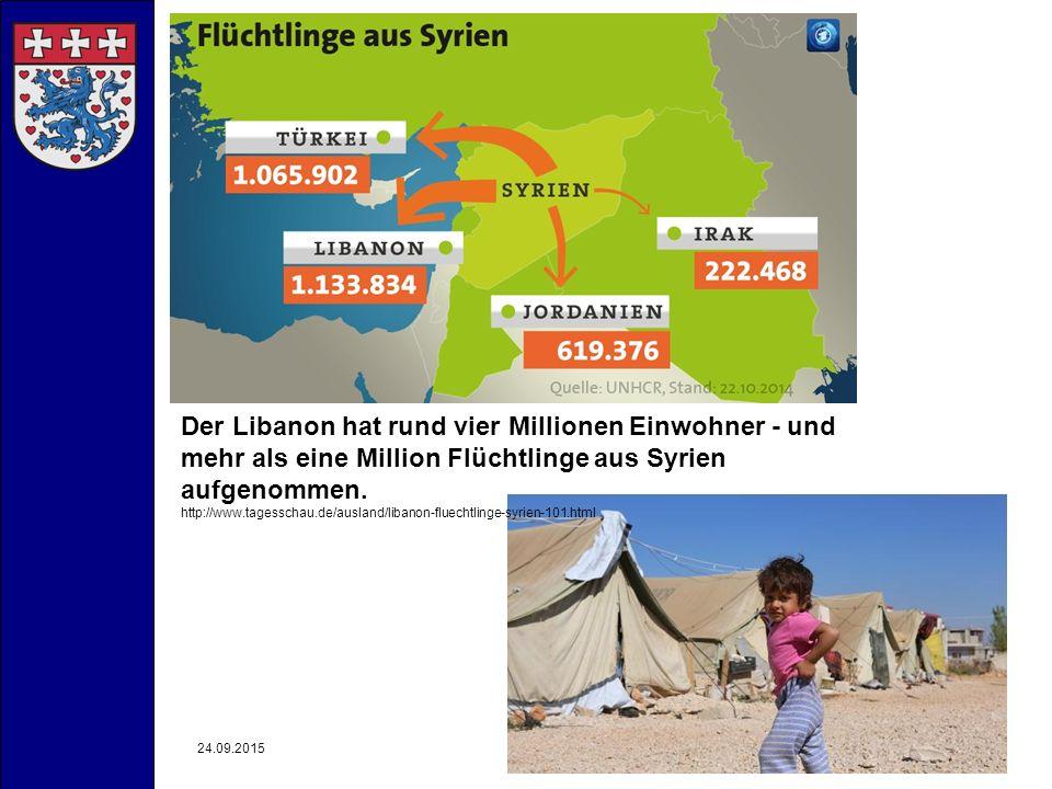 24.09.2015- Landkreis Uelzen -4 Der Libanon hat rund vier Millionen Einwohner - und mehr als eine Million Flüchtlinge aus Syrien aufgenommen. http://w