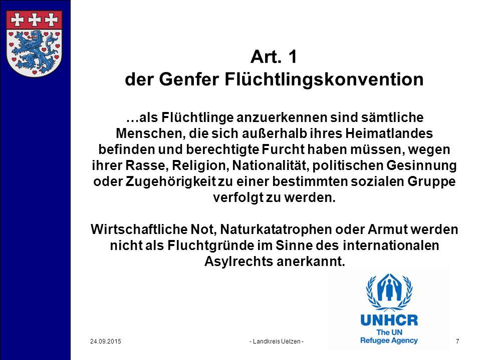 Art. 1 der Genfer Flüchtlingskonvention …als Flüchtlinge anzuerkennen sind sämtliche Menschen, die sich außerhalb ihres Heimatlandes befinden und bere