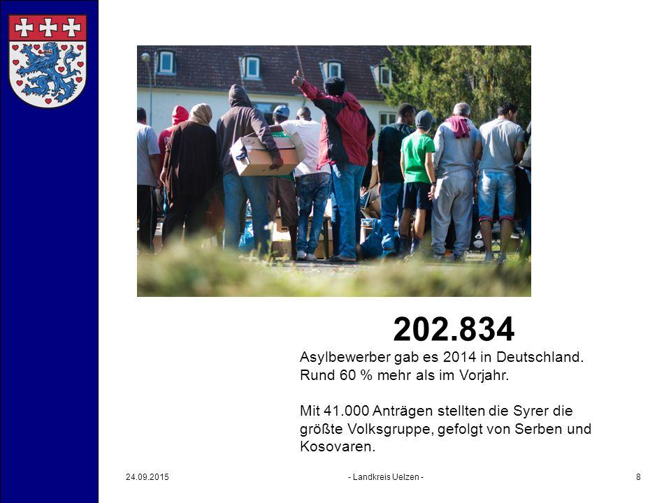 24.09.2015- Landkreis Uelzen -8 202.834 Asylbewerber gab es 2014 in Deutschland. Rund 60 % mehr als im Vorjahr. Mit 41.000 Anträgen stellten die Syrer