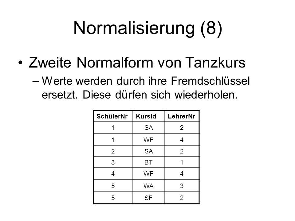 Normalisierung (8) Zweite Normalform von Tanzkurs –Werte werden durch ihre Fremdschlüssel ersetzt. Diese dürfen sich wiederholen. SchülerNrKursIdLehre