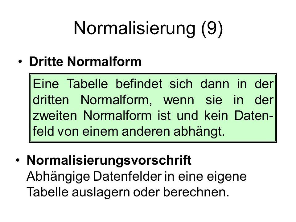 Normalisierung (9) Dritte Normalform Eine Tabelle befindet sich dann in der dritten Normalform, wenn sie in der zweiten Normalform ist und kein Daten-