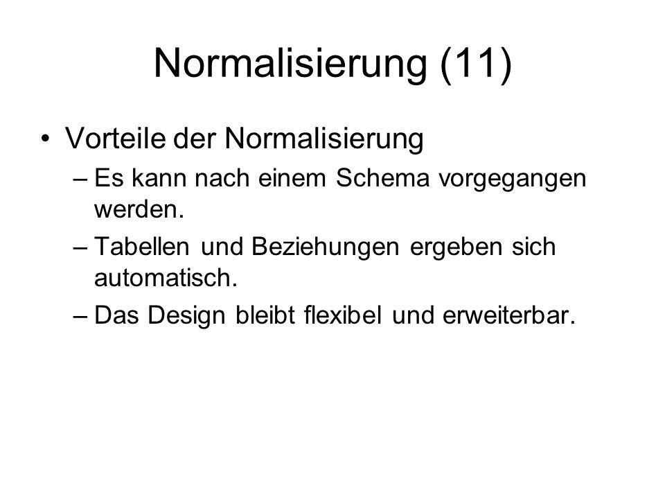 Normalisierung (11) Vorteile der Normalisierung –Es kann nach einem Schema vorgegangen werden. –Tabellen und Beziehungen ergeben sich automatisch. –Da