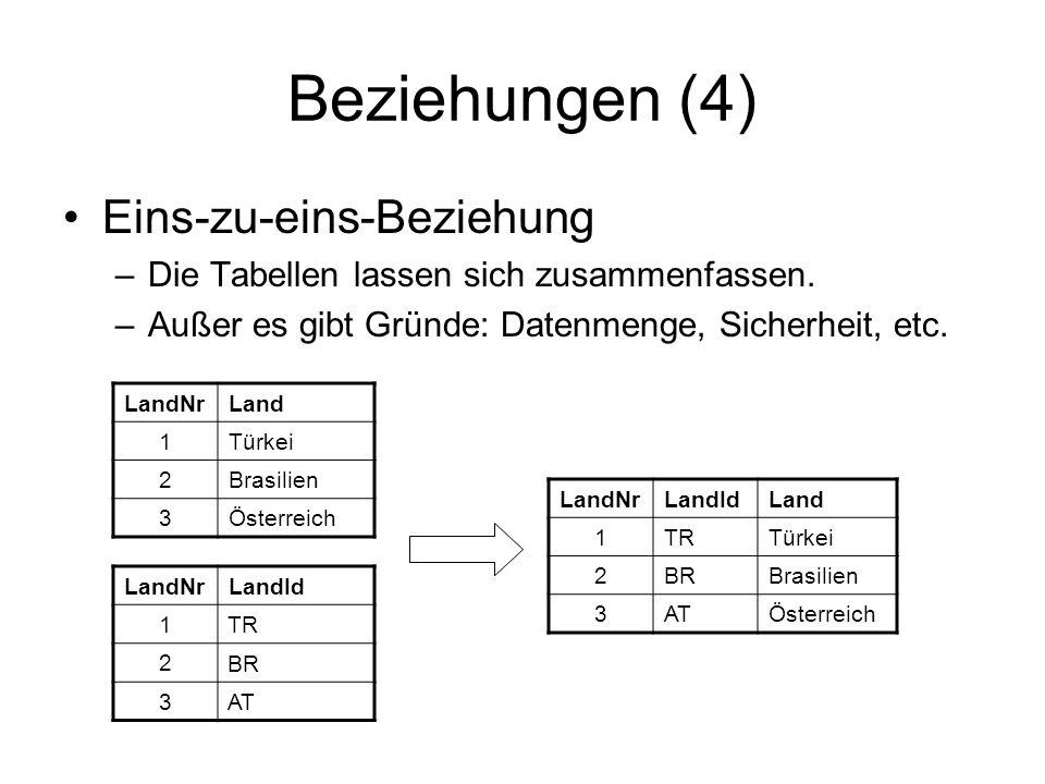 Beziehungen (4) Eins-zu-eins-Beziehung –Die Tabellen lassen sich zusammenfassen. –Außer es gibt Gründe: Datenmenge, Sicherheit, etc. LandNrLand 1Türke