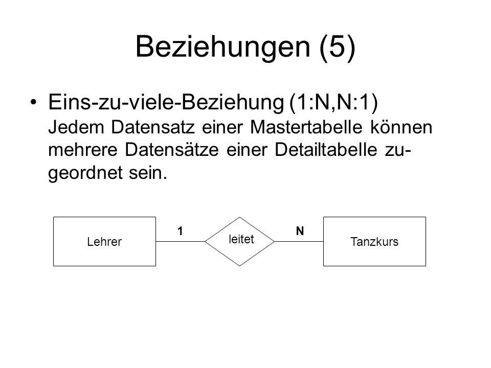 Beziehungen (5) Eins-zu-viele-Beziehung (1:N,N:1) Jedem Datensatz einer Mastertabelle können mehrere Datensätze einer Detailtabelle zu- geordnet sein.
