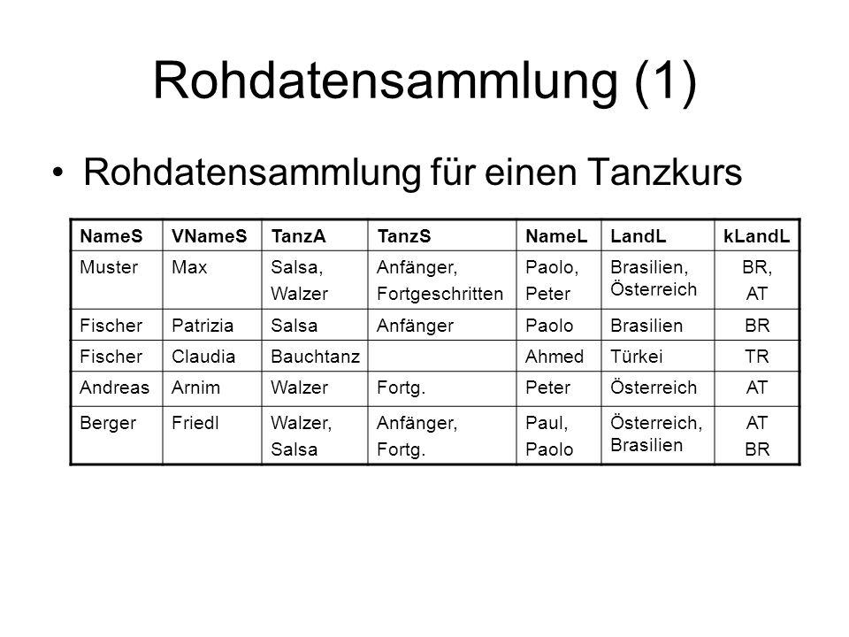 Beziehungen (4) Eins-zu-eins-Beziehung –Die Tabellen lassen sich zusammenfassen.