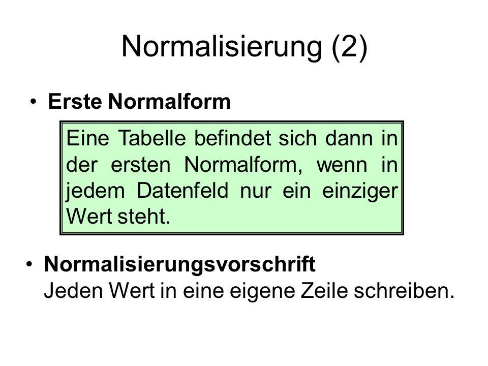 Normalisierung (2) Erste Normalform Eine Tabelle befindet sich dann in der ersten Normalform, wenn in jedem Datenfeld nur ein einziger Wert steht. Nor