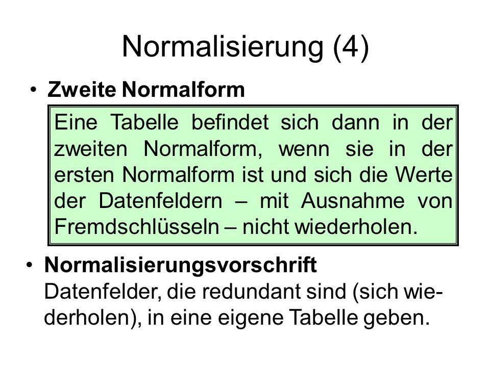 Normalisierung (5) Zweite Normalform von Tanzkurs –Die Schüler wiederholen sich; sie müssen in eine eigene Schüler-Tabelle mit Primär- schlüssel ausgelagert werden.