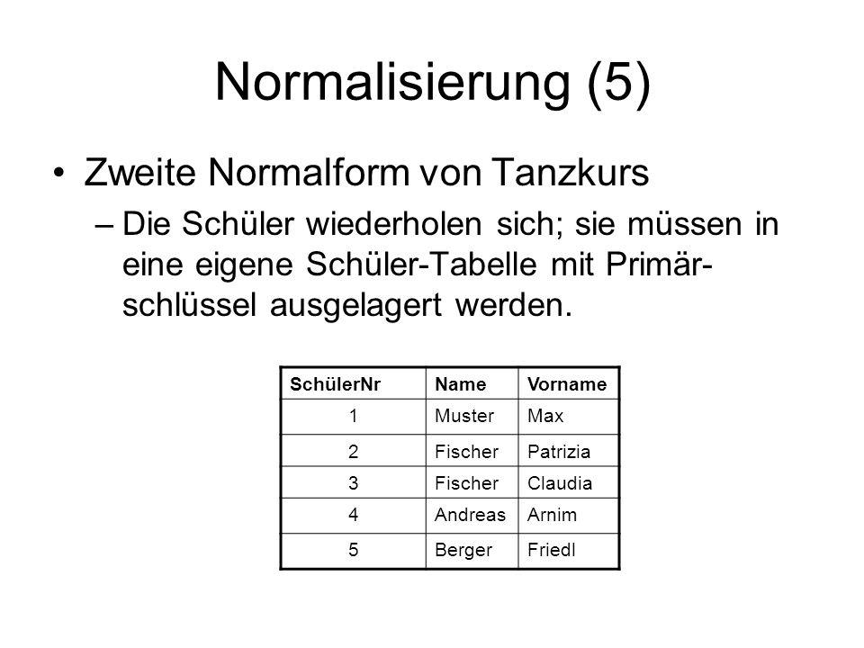 Normalisierung (5) Zweite Normalform von Tanzkurs –Die Schüler wiederholen sich; sie müssen in eine eigene Schüler-Tabelle mit Primär- schlüssel ausge