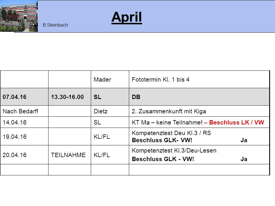 April MaderFototermin Kl. 1 bis 4 07.04.1613.30-16.00SLDB Nach Bedarf!Dietz2. Zusammenkunft mit Kiga 14.04.16SLKT Ma – keine Teilnahme! – Beschluss LK