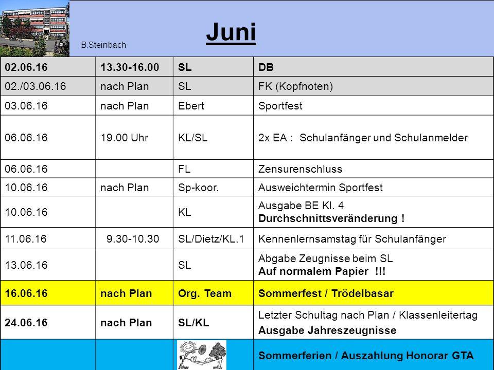 Juni 02.06.1613.30-16.00SLDB 02./03.06.16nach PlanSLFK (Kopfnoten) 03.06.16nach PlanEbertSportfest 06.06.1619.00 UhrKL/SL2x EA : Schulanfänger und Sch