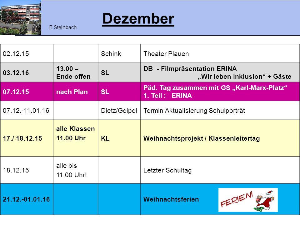 """Dezember 02.12.15SchinkTheater Plauen 03.12.16 13.00 – Ende offen SL DB - Filmpräsentation ERINA """"Wir leben Inklusion"""" + Gäste 07.12.15nach PlanSL Päd"""