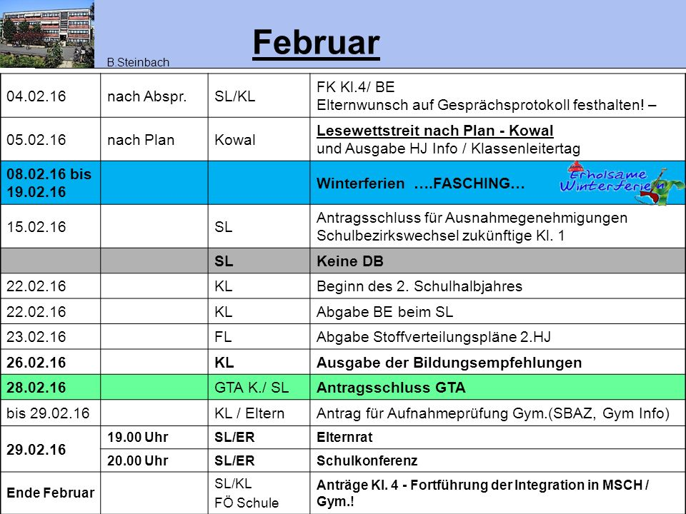 März 03.03.1613.30-16.00SLDB – …Info über Eltern- Beiträge zum EA 03.03.16SLAufnahmeprüfung Gym.