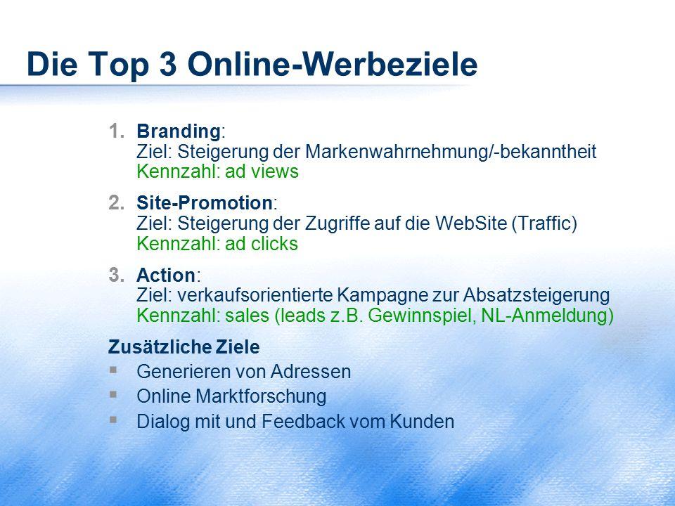 Die Top 3 Online-Werbeziele 1. Branding: Ziel: Steigerung der Markenwahrnehmung/-bekanntheit Kennzahl: ad views 2. Site-Promotion: Ziel: Steigerung de