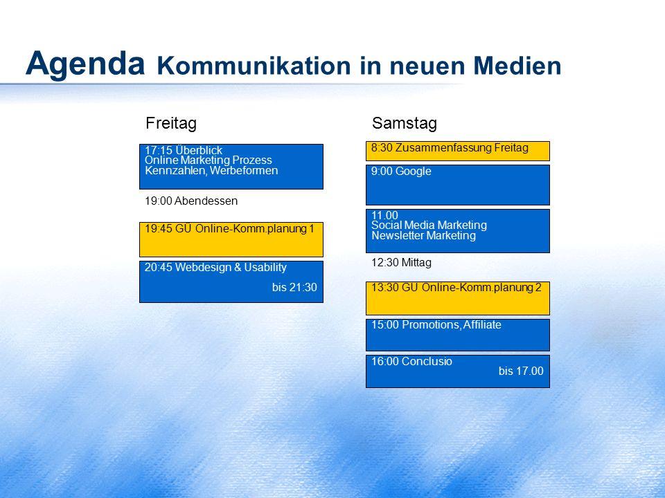 Agenda Kommunikation in neuen Medien SamstagFreitag 17:15 Überblick Online Marketing Prozess Kennzahlen, Werbeformen 19:00 Abendessen 20:45 Webdesign